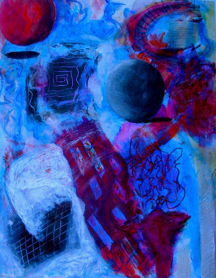"Black Sphere. 24"" x 18"". acrylic on paper.   (Ptg #8)"