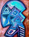 """Qua. 14"""" x 11"""". Acrylic on canvas. (Ptg.#83)"""