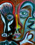 """Goat Man. 14 x 11"""". Acrylic on canvas. (Ptg.#86)"""