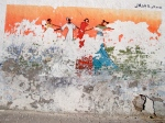 Worn Wall Painting of Dancers - Essaouira, Morocco