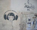 Earphones - wall stencil from Florence, Italy