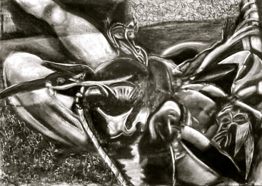 "Incubus. 18"" x 22"". graphite, conte, charcoal on paper. (Drwg # 30)."