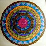 "Mandala for Cheryl. 10"" x 10"". coloured pen on paper. (Drwg #4)"