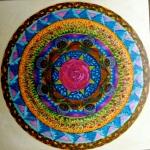 """Mandala for Cheryl. 10"""" x 10"""". coloured pen on paper. (Drwg #4)"""