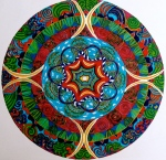 "Mandala for George. 11"" x 14"". coloured pen on paper. (Drwg #5)."