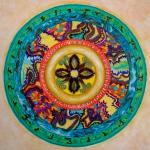 """Mandala for Jana. 14"""" diam. Coloured pen on paper. (Drwg #45)."""