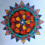 """Mandala for Mogs. 8"""" x 8"""". coloured pen on paper. (Drwg #1)."""
