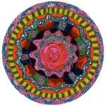 """Mandala for Rosa. 11"""" x 14"""". coloured pen on paper. (Drwg #7)."""