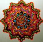 "Mandala for Steve. 11"" x 14"". coloured pen on paper. (Drwg #36)."