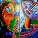 "Musa Inesperada 2. diptych. each panel 24"" x 12"". acrylic on canvas. (Ptg # 40)."