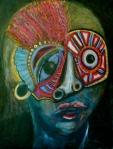 """Peyote Mask. 18"""" x 14"""". Acrylic on panel. (Ptg.#85)"""