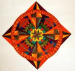 """Mandala for Sam. 16"""" x 16"""". coloured pen on paper. (Drwg #2)."""