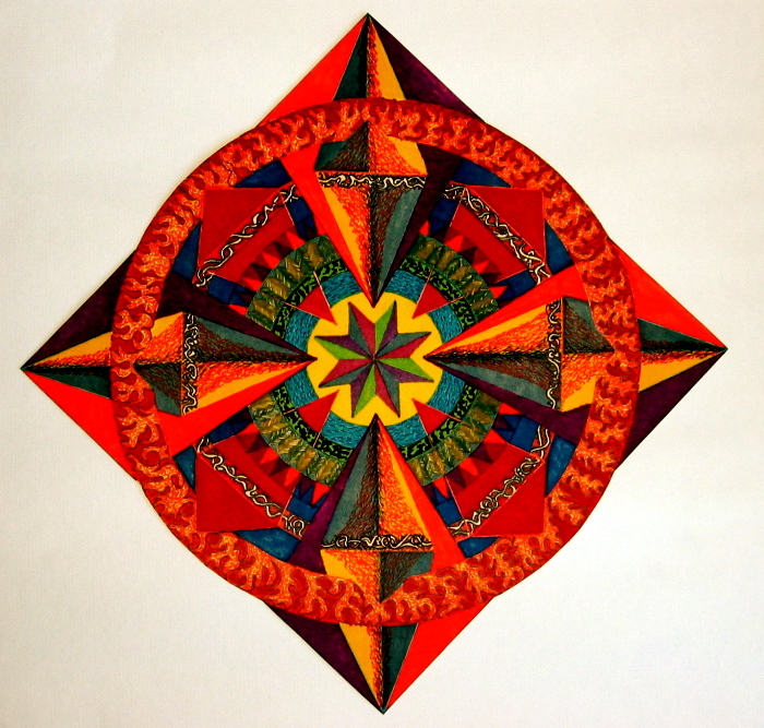 "Mandala for Sam. 16"" x 16"". coloured pen on paper. (Drwg #2)."