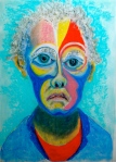"Self Portrait as Clown. 21"" x 15"". pastel and conte on paper. (Drwg # 32)."