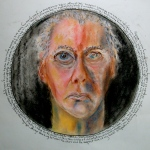 "Self Portrait in circular mirror with text. 12"" diam. conte, pastel, pen on paper. (Drwg # 33)."