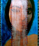 "Veiled Muse. 15"" x 11"". acrylic on paper. (Ptg # 42)."