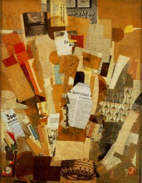 "Difficult. 1943. Collage. 31"" x 24""."