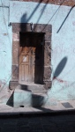 Door in Blue Wall with Shadows - San Miguel De Allende
