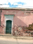 Green Door in Pink Wall. Oaxaca