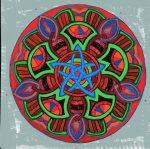 """Mandala for Ese. 8"""" x 10"""". Coloured pen on paper. (Drwg #38)."""