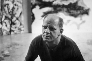August 1953:  Portrait of American Abstract Expressionist painter Jackson Pollock (1912 - 1956) at his studio in East Hampton, New York.   (Photo  CREDIT!!!!!!----Tony Vaccaro/Hulton Archive/Getty Images)